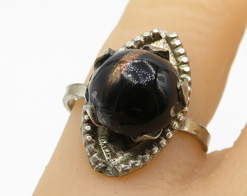 925 Sterling Silver - Vintage Cabochon Brown Gemstone Cocktail Ring Sz 6 - R6932