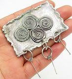 925 Sterling Silver - Vintage Framed Swirls Chime Dangle Brooch Pin - BP2226