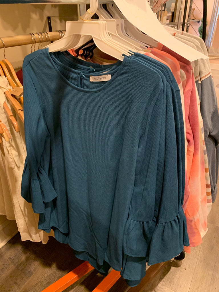 turquoise bell sleeve top