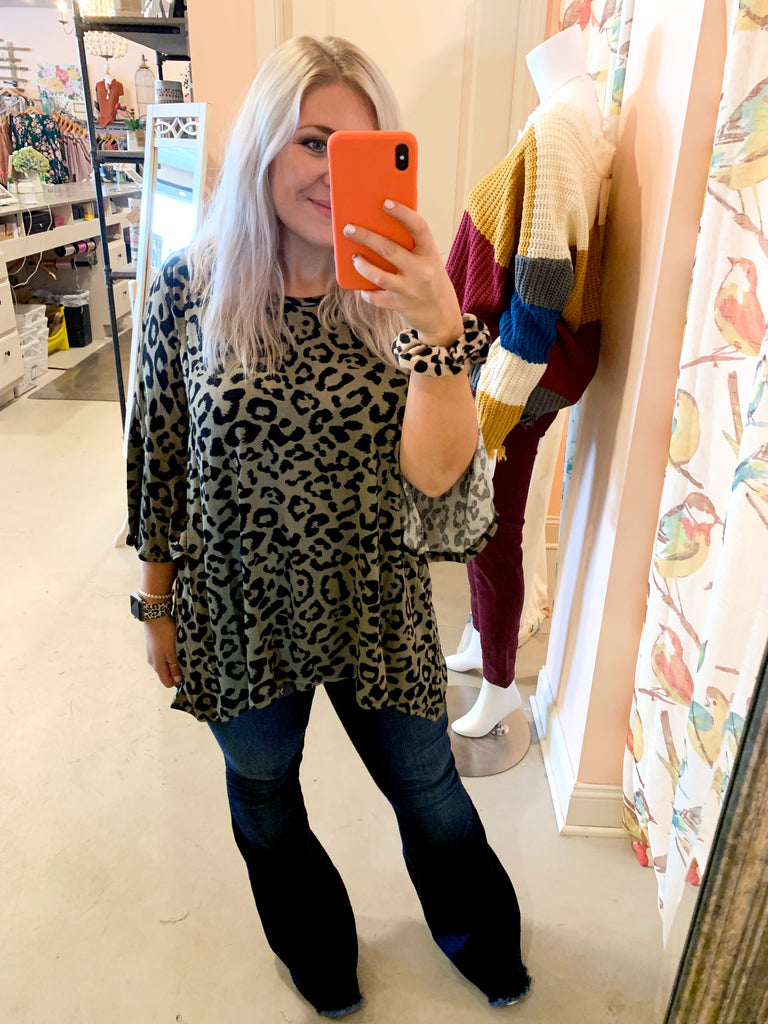 Olive leopard tunic