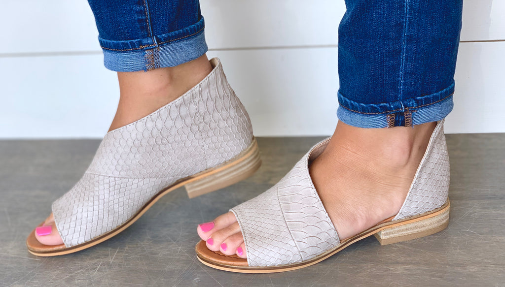 Taupe Snake Skinned Flats