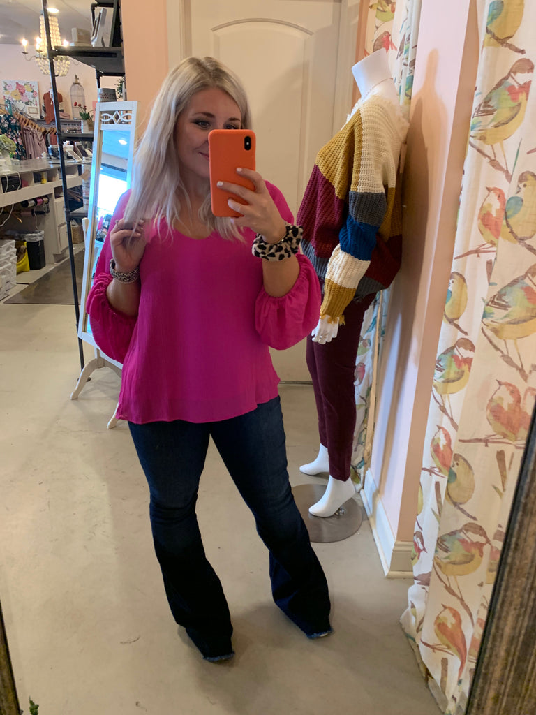 Fuchsia and black long sleeve v-neck top