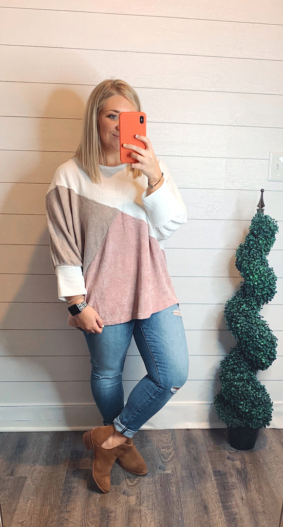 Color block dolman sweater