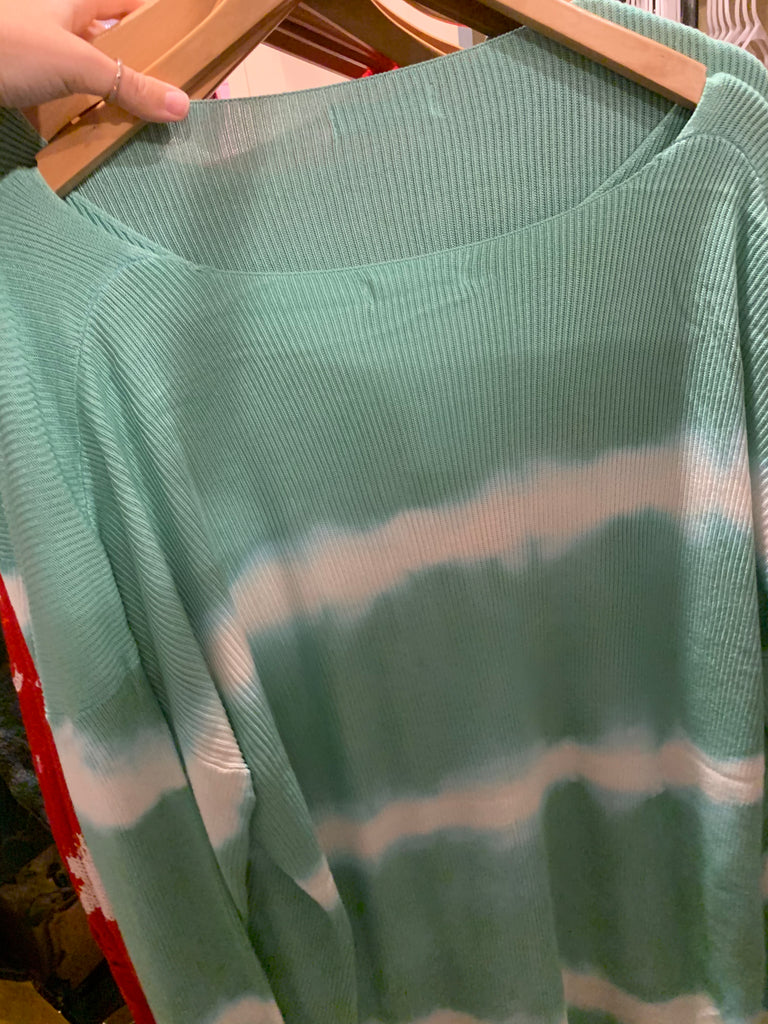 Teal striped sweater