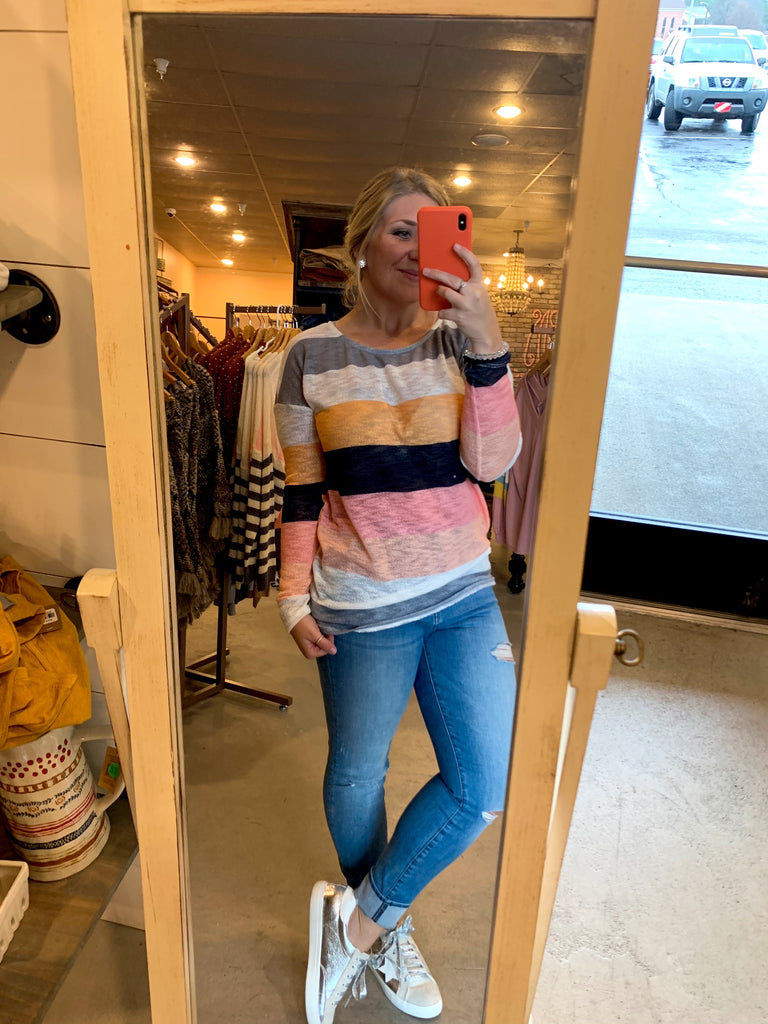 Striped coral top