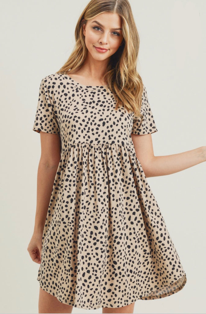 Taupe Printed Babydoll Dress Preorder
