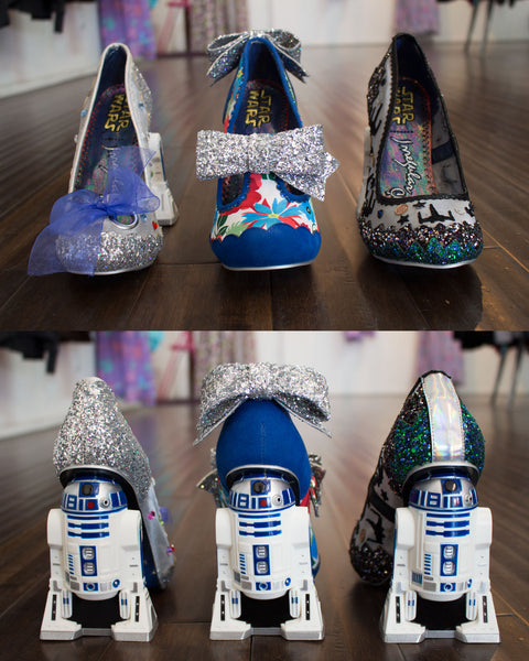 ecd60f20ca94 R2D2 has never looks as sparkly and magical as it does on these Irregular  Choice Shoes! Each shoe has an amazing R2D2 heel. Glitzy Artoo Shoes