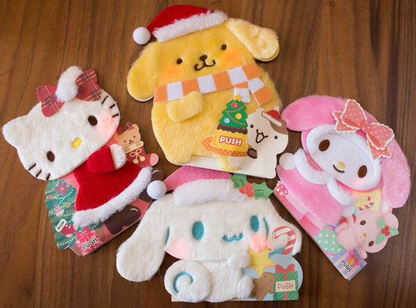 Kawaii holiday gift ideas sanrio greeting cards winter plush all of our favorite sanrio characters look so cute on these fuzzy sanrio light up singing cards the cheeks on the cards light up and they each say a cute m4hsunfo