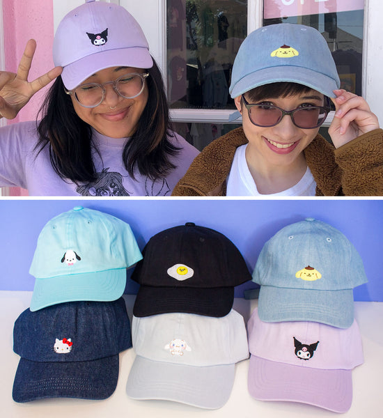 b7a5a171b These Sanrio Low Caps will help keep you cute and cool this summer! Each hat  has an embroidered character on the front. Available in Hello Kitty, ...