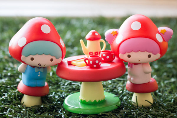 4ae1aacac These Sanrio Mushroom Figure Sets each come with one Sanrio Character  wearing a mushroom hat and a mushroom themed furniture item.