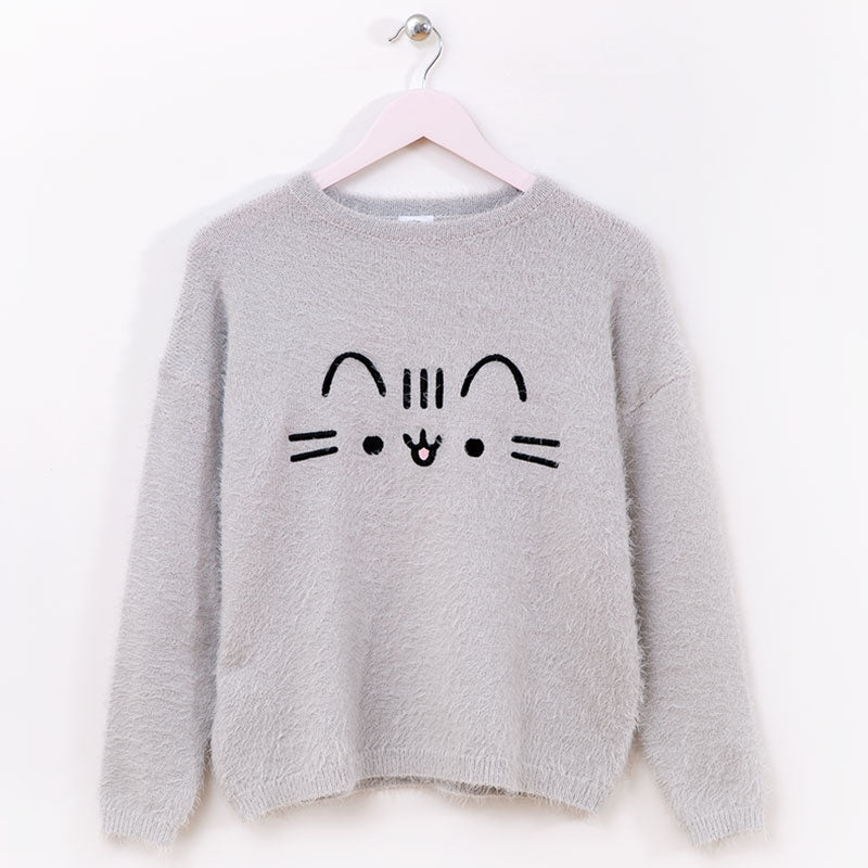 Pusheen Fuzzy Face Embroidered Ladies Sweater