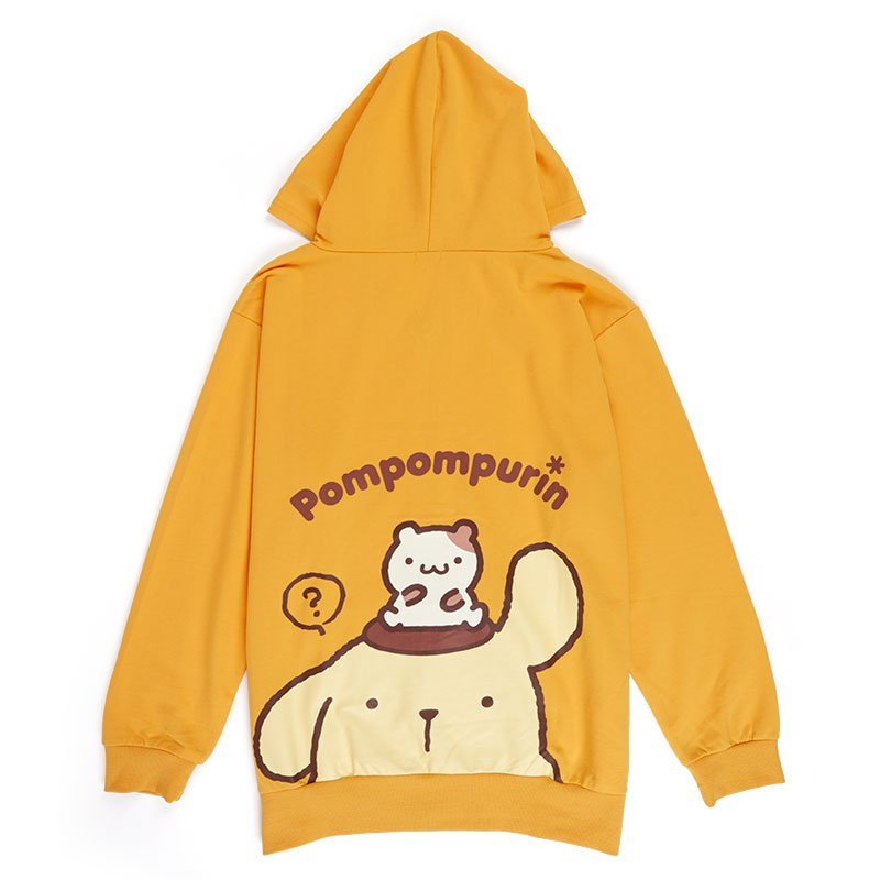 Pom Pom Purin Back Print Zip Up Hoodie