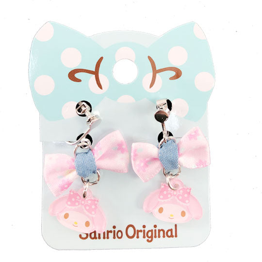 My Melody Denim Bow Clip On Earrings