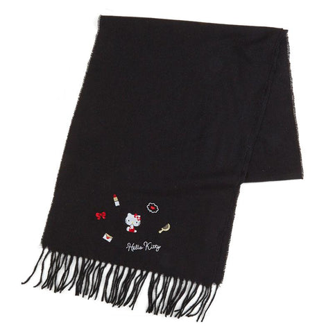 Hello Kitty Embroidered Black Scarf