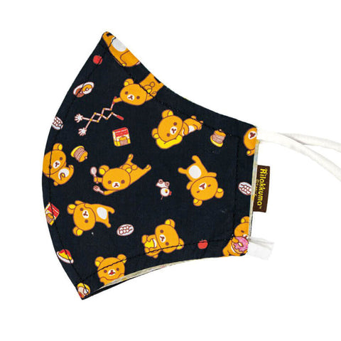 Adult Rilakkuma All Over Print Black Face Mask