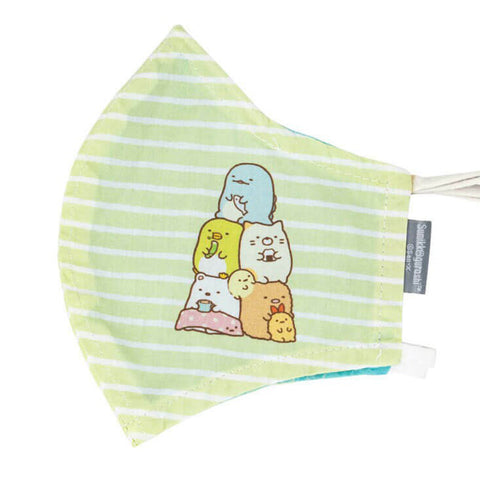 Adult Sumikkogurashi Group Green Stripe Face Mask