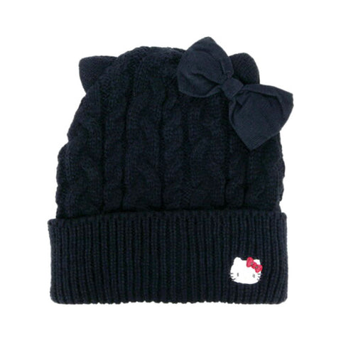 Hello Kitty Kids Black Knit Cap