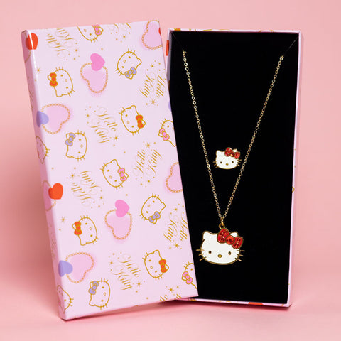 Hello Kitty Valentine's Day Red Ring and Necklace Set