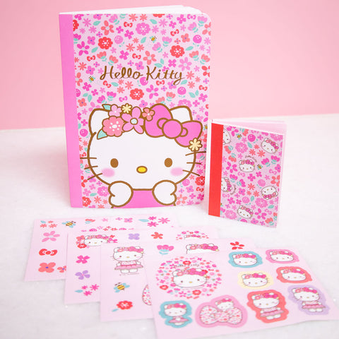 Hello Kitty Flower Notebook & Sticker Set