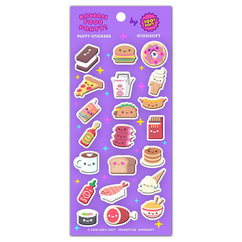 Kawaii Food Party Puffy Stickers