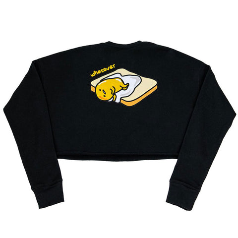 Gudetama Toast Black Crop Sweatshirt