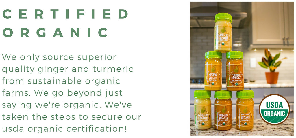 USDA Certifed Organic Ginger Turmeric Shots | Cold Pressed Juice | GreenLight Juice
