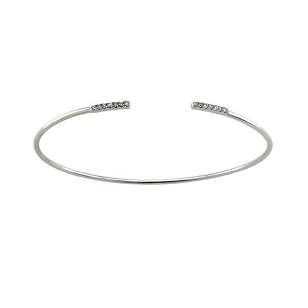 CZ Bar Tips 925 SS Open Bracelet