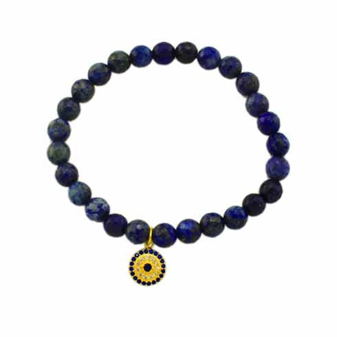 Evil Eye Charm Blue Stretch 925 Bracelet