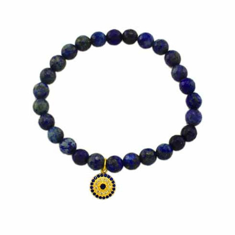 Evil Eye Charm Blue Stretch Bracelet