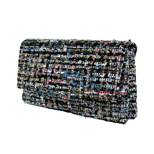 Tweed Double Pocket Fabric Clutch