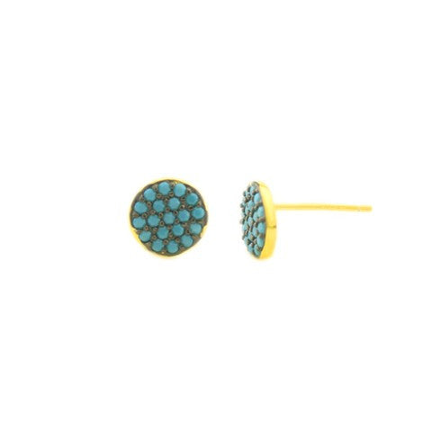 Circle Turquoise Pave 925 Studs