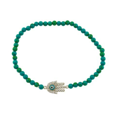 Hamsa 925 SS Beads Stretch Bracelet