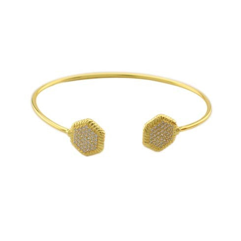 Hexagon Open Cuff Bracelet