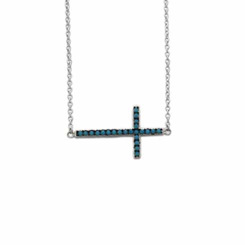 Sideways Cross Turquoise Sparkle Necklace