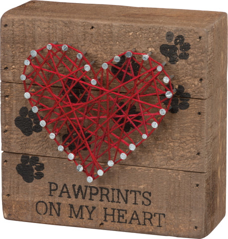 Box Sign- Paw Prints on My Heart String Art