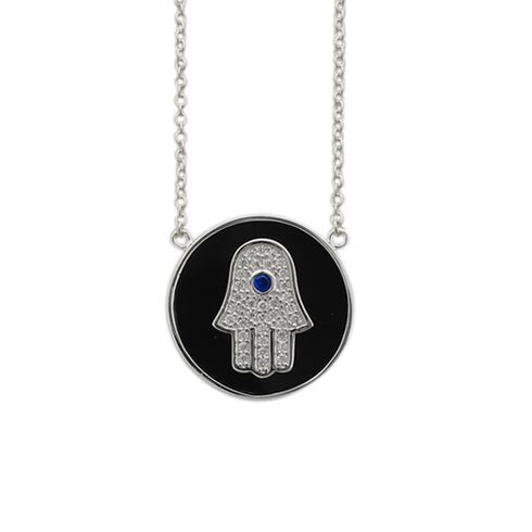 Hamsa CZ Black Disc Necklace