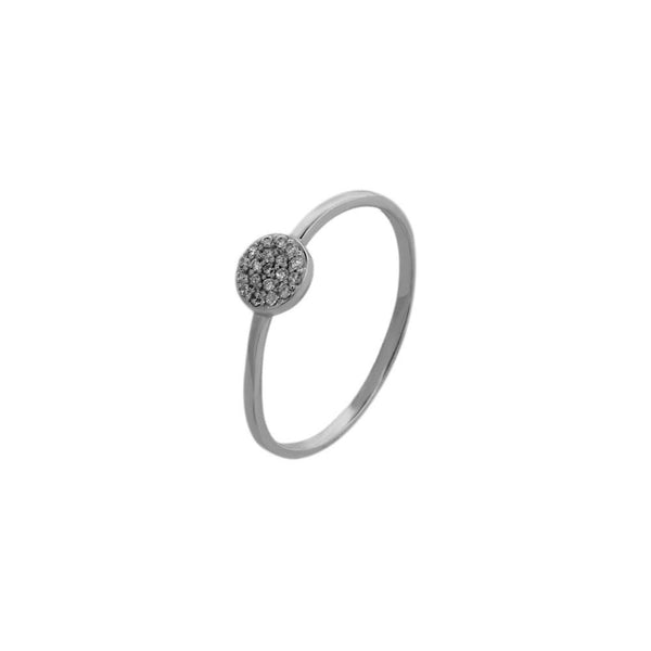 Pave Round Disc 925 SS Ring