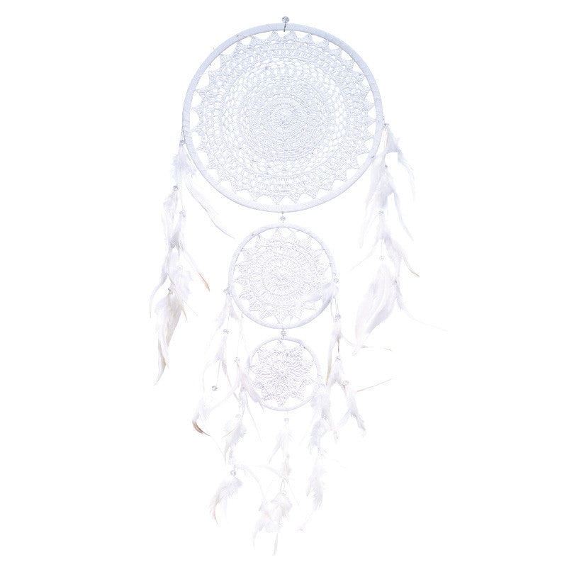 Dream Catcher Med White Crochet Triple
