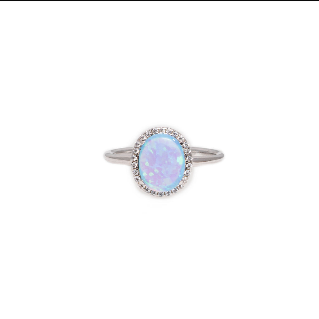 Opaline Oval Cubic Zirconia Ring