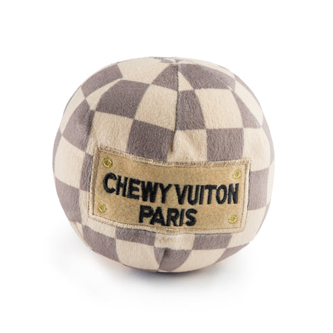Chewy Vuiton Checkered Ball Plush Pet Toy