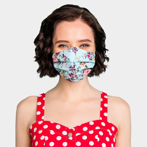 Noellery Strong Adult 100% Cotton Teal Flowers Reusable Face Mask