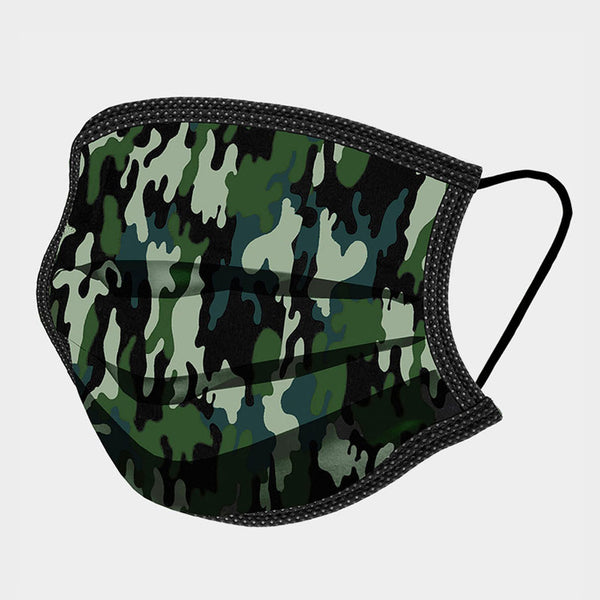Noellery Strong Adult 100% Cotton Green Camouflage Print Reusable Face Mask