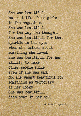 Glitter Notebook- She Was Beautiful