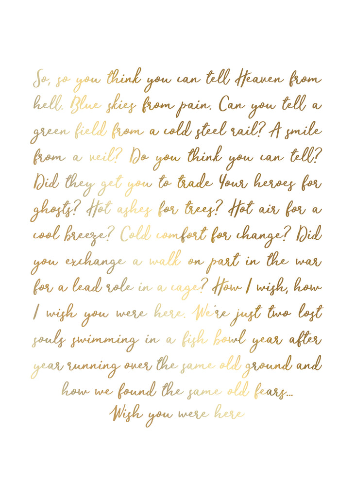 Print- Wish You Were Here Lyrics