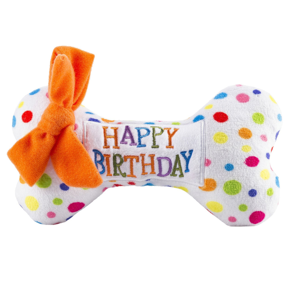 Happy Birthday Bone Plush Pet Toy
