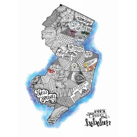 New Jersey Map Wall Art