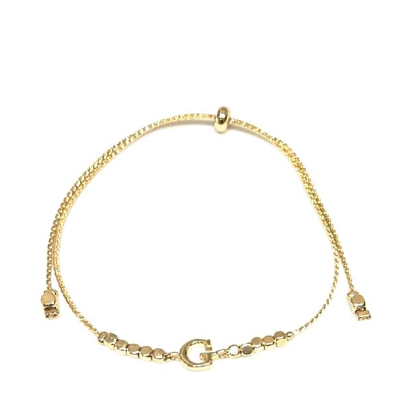 Initial Beaded Adjustable Bracelet Gold