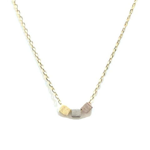 3 Tone Cube Brass Necklace