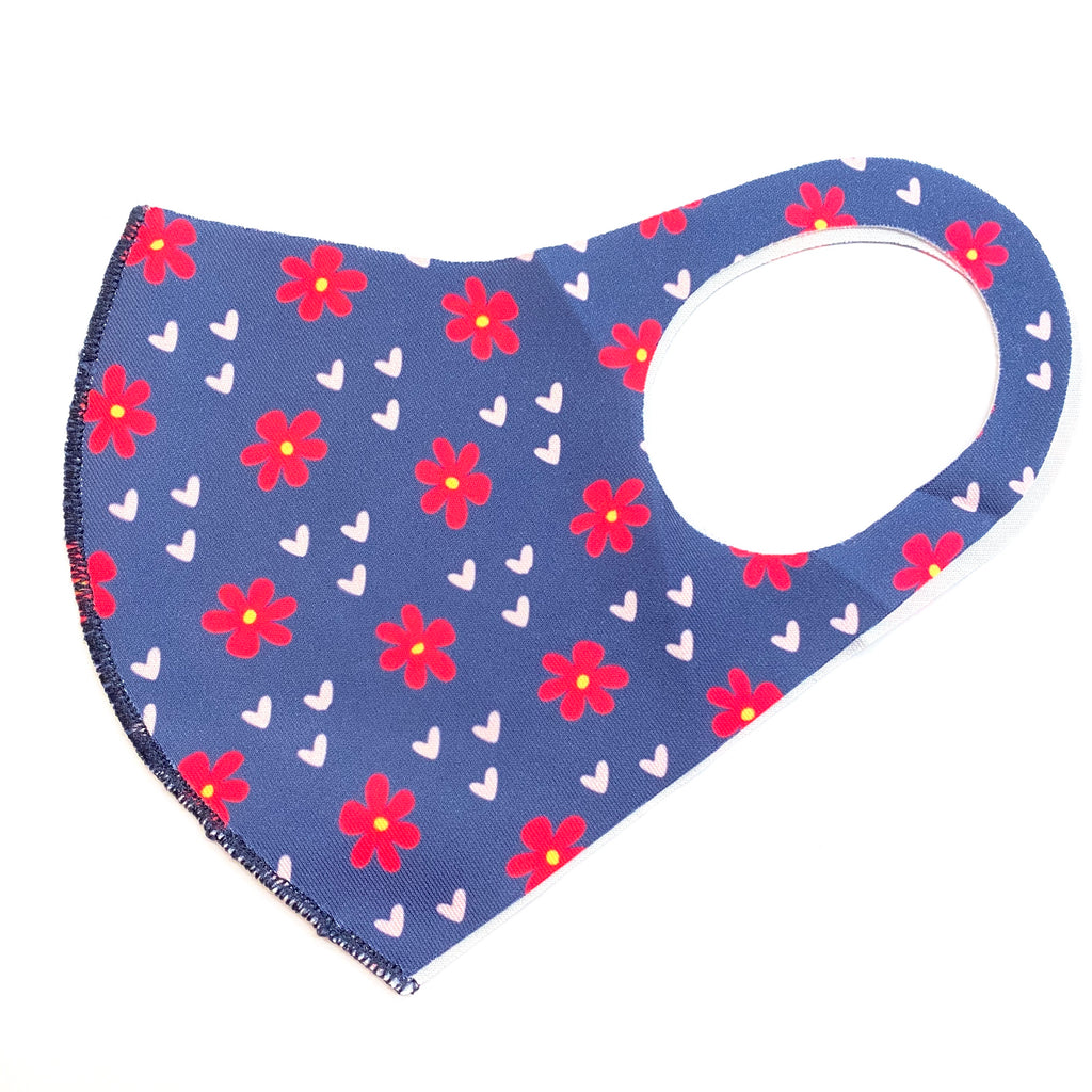 Noellery Strong Adult Unisex Flowers Pink Hearts Navy Face Mask