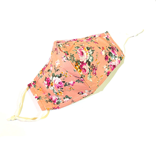 Noellery Strong Adult 100% Cotton Flower Print Pink Reusable Face Mask